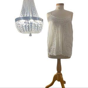 Kenar Vintage White Boho Crochet Detail Tank Top